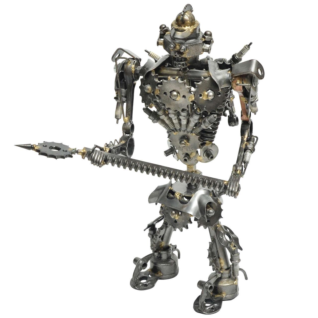 Unusual Articulated Robot Warrior Sculpture Composed of Misc  Scrap Parts