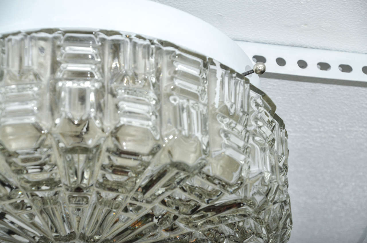 Austrian Clear Textured Glass Flush Mount Ceiling Fixture For