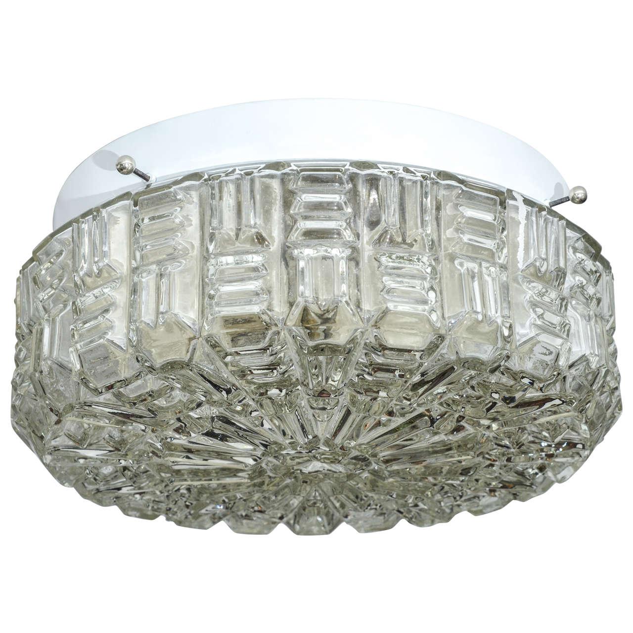 Clear Textured Glass Flush Mount Ceiling Fixture