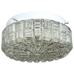 Clear Textured Glass Flush Mount Ceiling Fixture