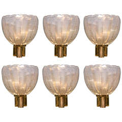 Exquisite Vintage Murano Wall Lights Signed Barovier e Toso