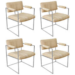 Mid-Century Four Polished Chrome Dining Armchairs, Thin Line by Milo Baughman