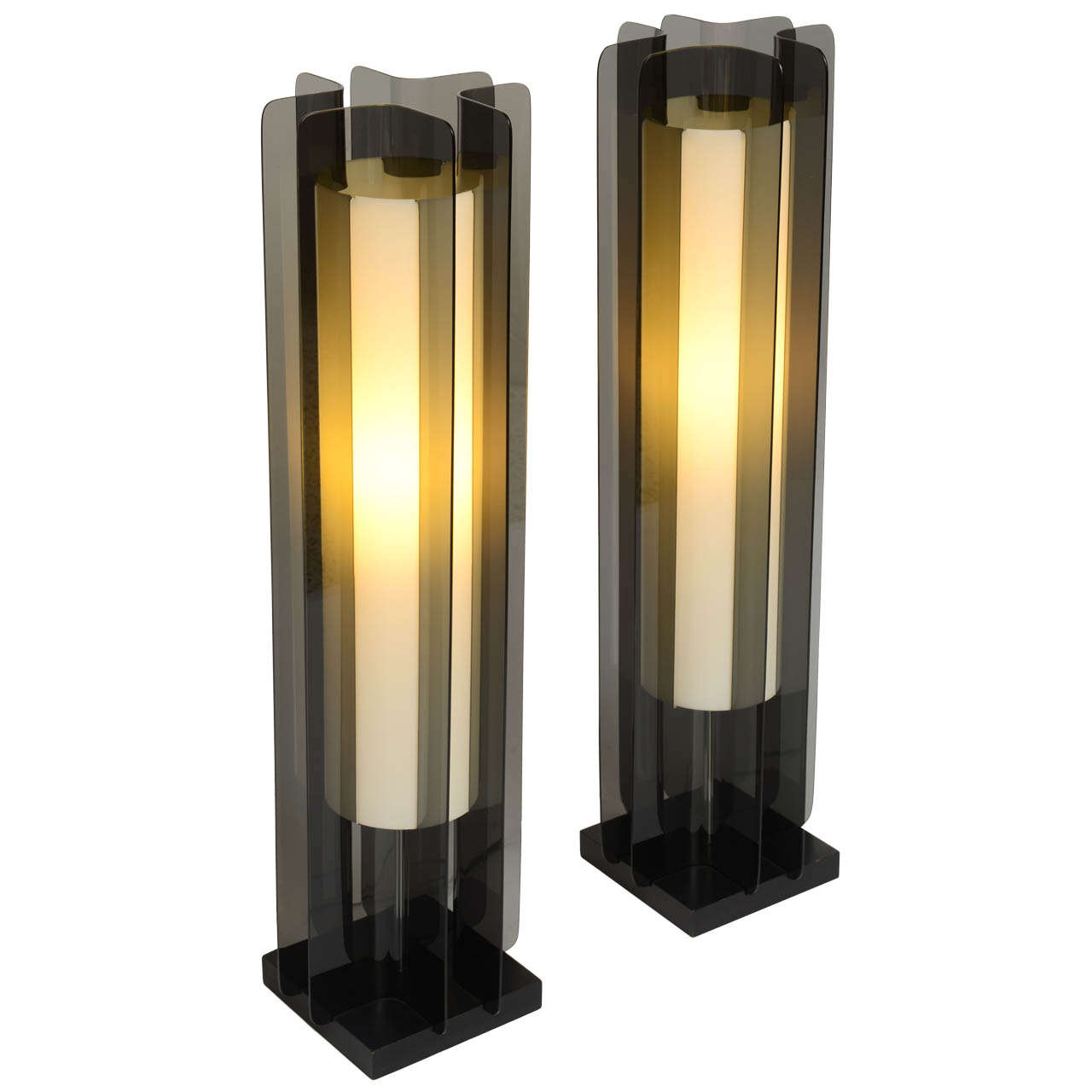 Exceptional smoked lucite tower table lamps modeline at 1stdibs exceptional smoked lucite tower table lamps modeline 1 geotapseo Images