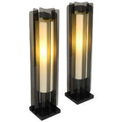 Exceptional Smoked Lucite Tower Table Lamps Modeline