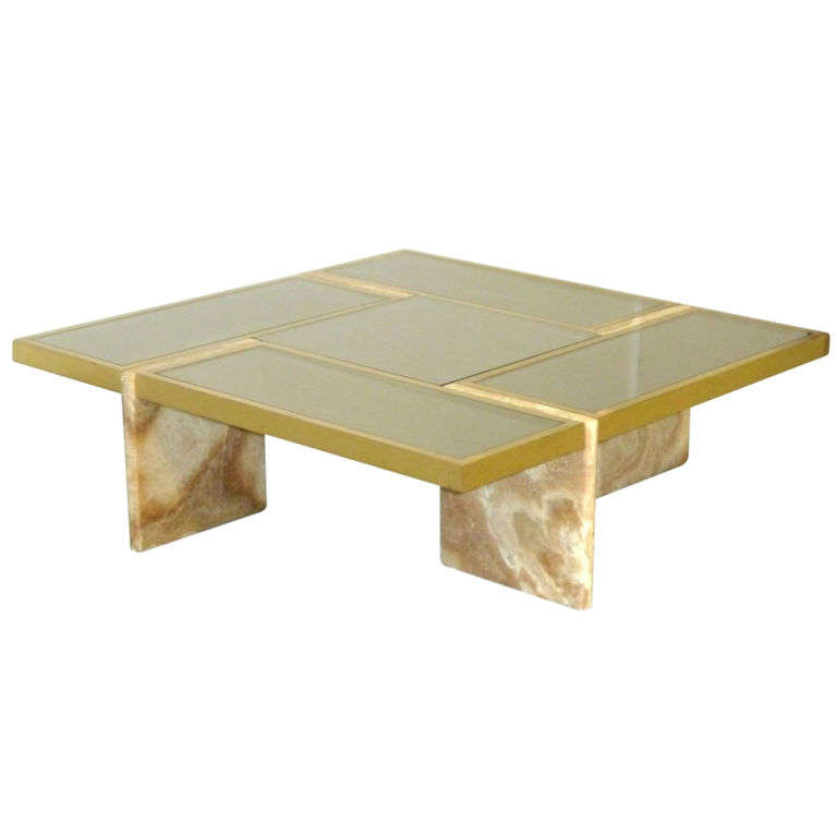 Travertine Slab Coffee Table: Travertine Base, Brass And Mirrored Glass Cocktail Table