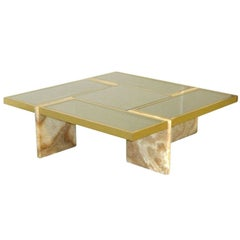 Travertine Base, Brass and Mirrored Glass Cocktail Table