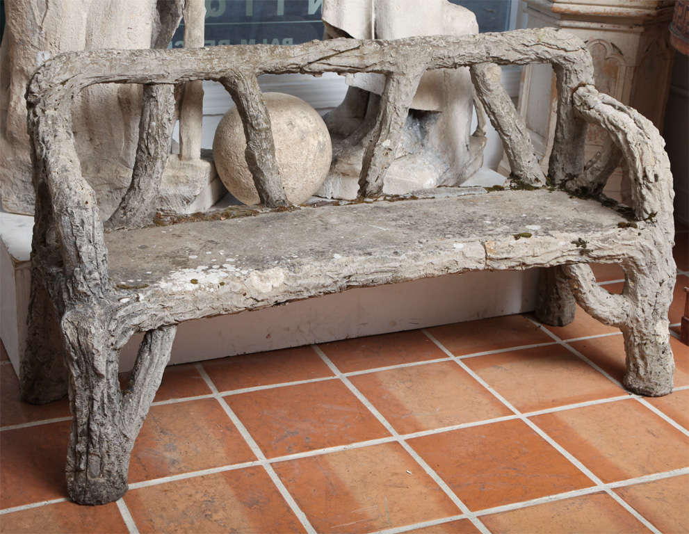 A very unusual size faux bois  garden bench.