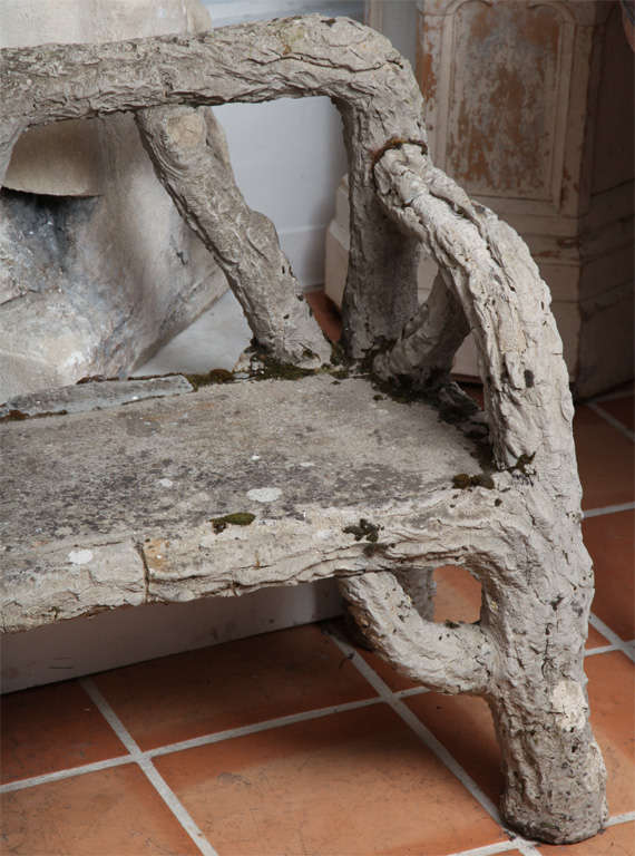 French Provincial Faux Bois Garden Bench For Sale