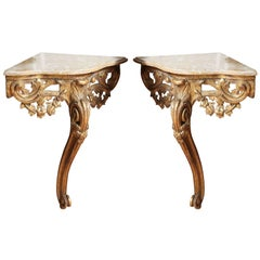Pair of Corner Console Tables