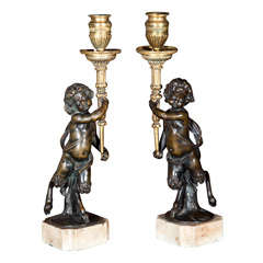 French Bronze Cherub Candlesticks