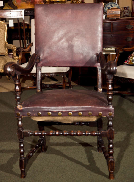17th Century Walnut Armchair In Fair Condition For Sale In Stamford, CT