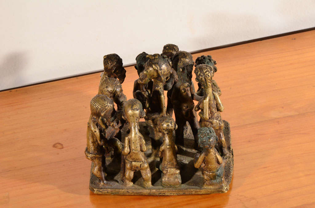 20th Century Ashanti Brass Figural Grouping For Sale