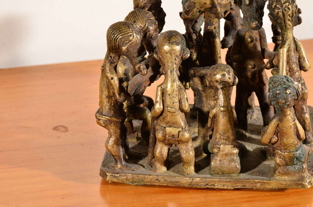 Bronze Ashanti Brass Figural Grouping For Sale