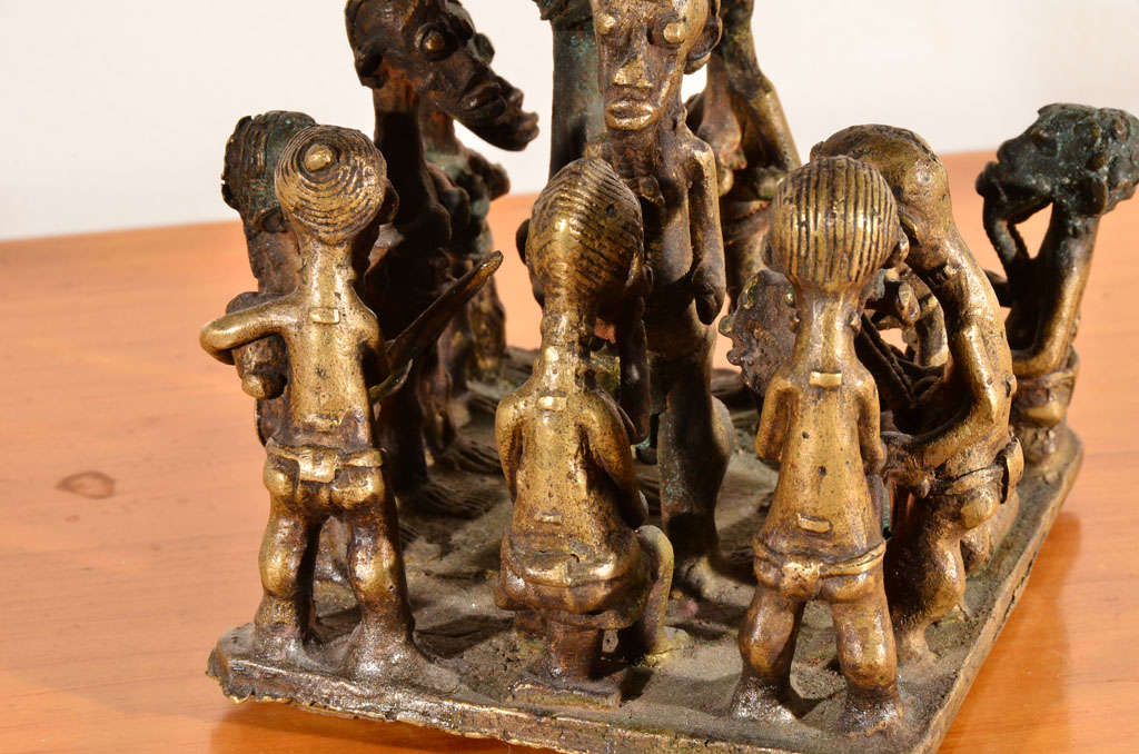 Ashanti Brass Figural Grouping For Sale 2