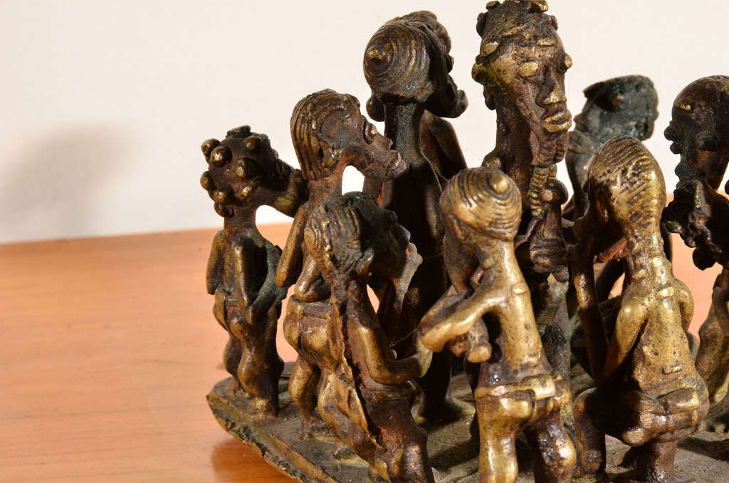 Ashanti Brass Figural Grouping For Sale 3