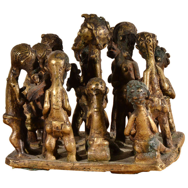 Ashanti Brass Figural Grouping For Sale
