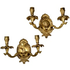 Pair of Brass Two-Light Sconces