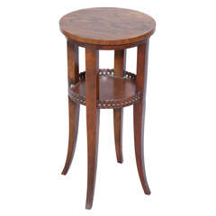 Round Vintage Baker Accent Table