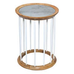 Round Accent Table with Mirrored Top on Spindle Frame Base
