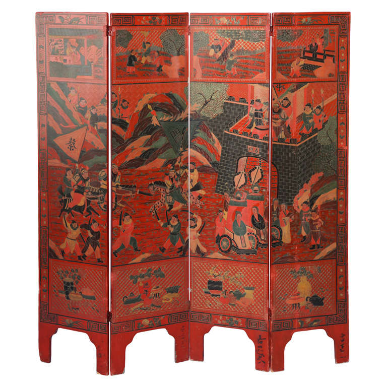 Antique four panel wooden lacquered chinese screen at stdibs