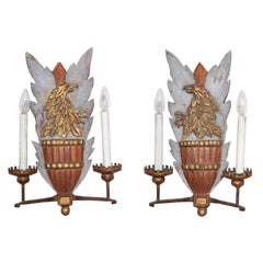 Pair of Heraldic Carved Wood Sconces