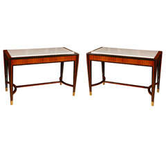 Pair Of French 1940 Console Tables  With Marble Top.