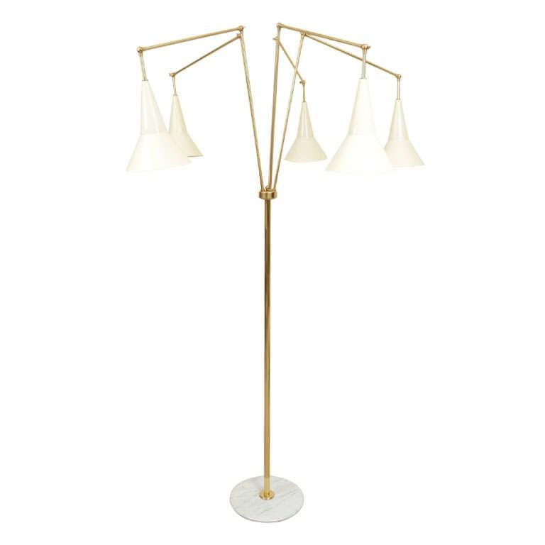 5 arm articulating floor lamp at 1stdibs for Sphere 5 light floor lamp
