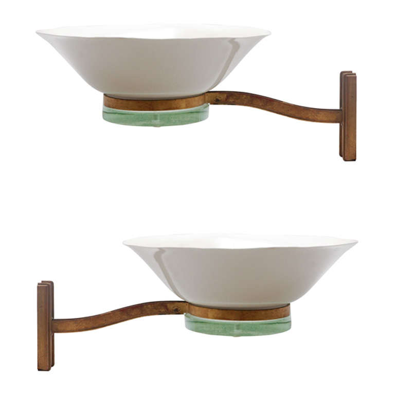 Large Art Deco Wall Sconces : Pair of Large Art Deco Sconces For Sale at 1stdibs