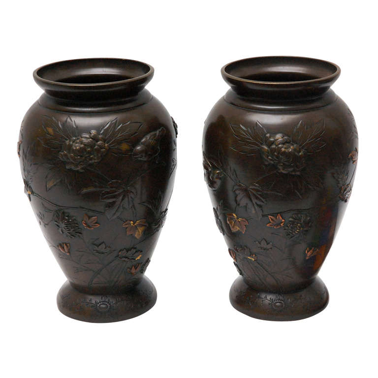 Pair of Japanese Mixed Metal and Bronze Urns