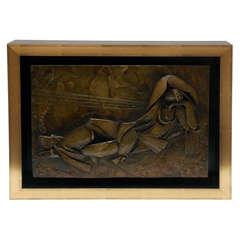 Custom Framed Bronze Relief of a Reclining Figure