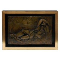 Custom Framed Bronze Relief of a Reclining Figure