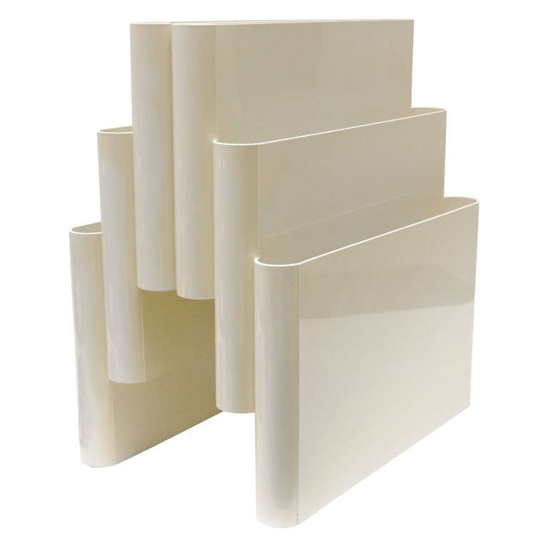 Model 4675 Portariviste in Cream Acrylic by Giotto Stoppino for Kartell