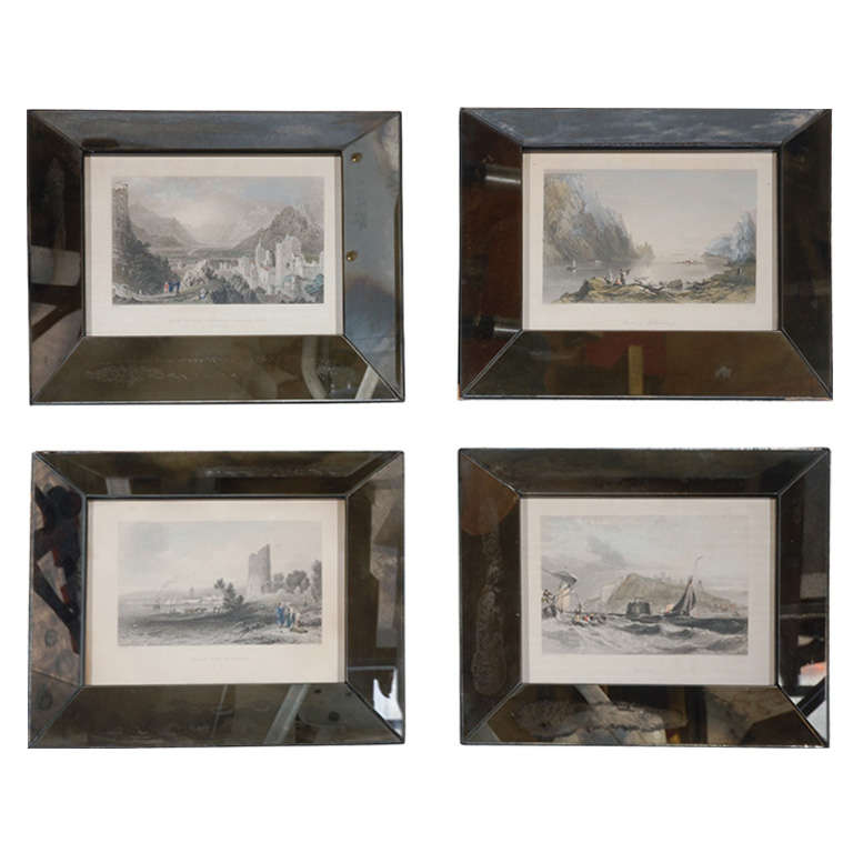 Set of Four Hand-Colored Engravings in Antique Mirror Frames