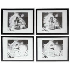Set of Four Framed Glass Plates of a Pin-Up Girl by E. Heart