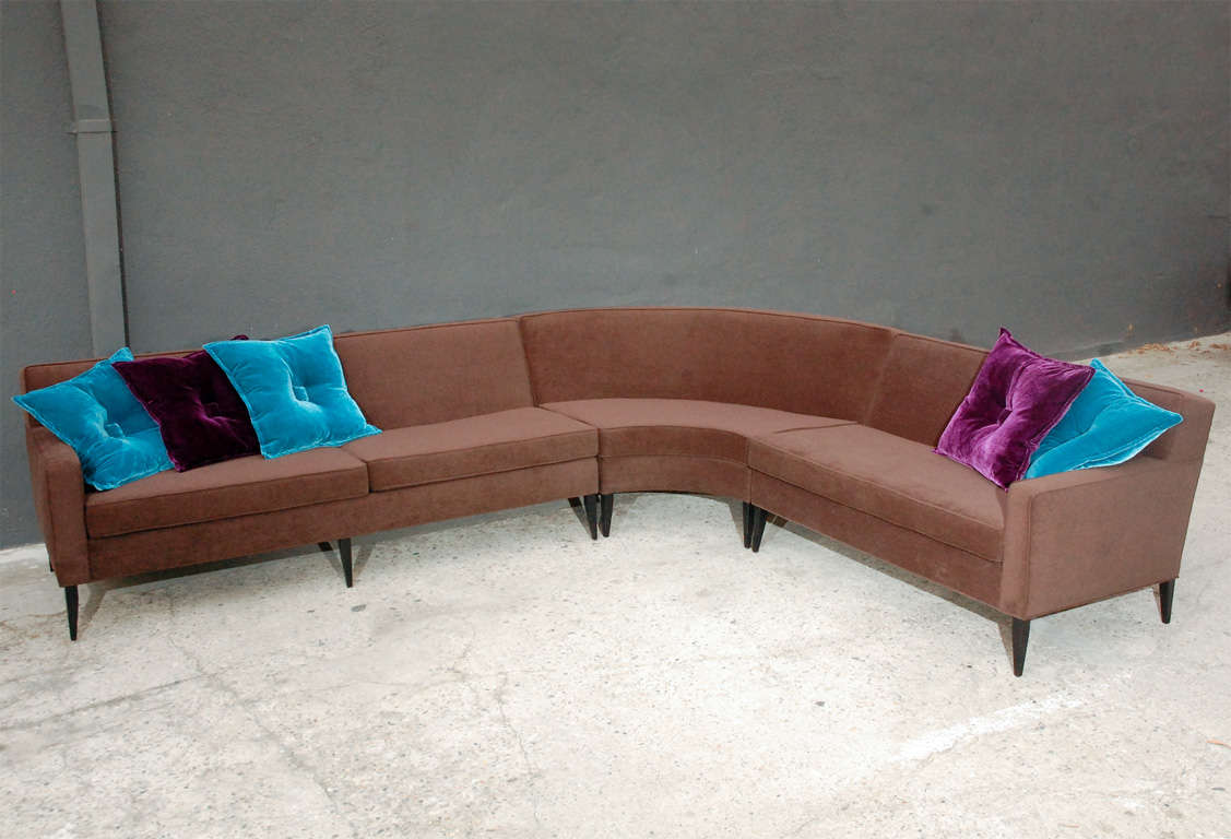 Three piece curved sectional sofa by harvey probber image 2 for Large 3 piece sectional sofa
