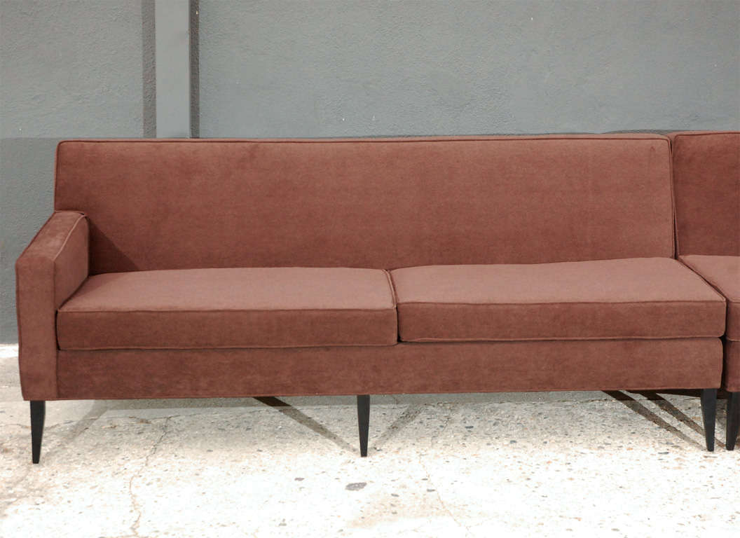 Three piece curved sectional sofa by harvey probber at 1stdibs for 3 pieces sectional sofa