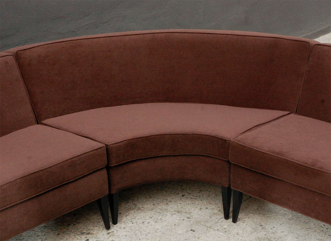 Three piece curved sectional sofa by harvey probber at 1stdibs for Large 3 piece sectional sofa