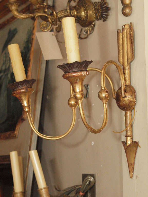 Pair Directoire Style Gilt Wood Sconces at 1stdibs