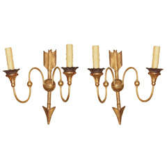 Pair Directoire Style Gilt Wood Sconces