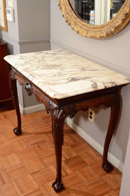 18th Century Irish Console Table with Original Shaped Marble Top 6