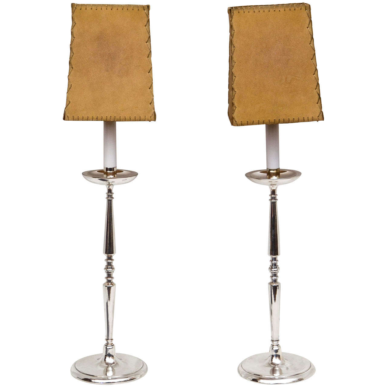 A Pair Of French Silverplate Candlestick Lamps With