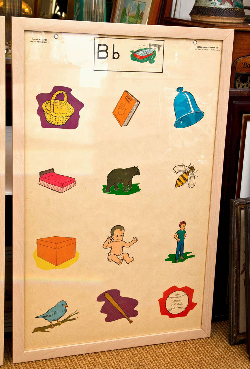 Custom Framed 1950's Elementary School Teaching Charts In Excellent Condition For Sale In Mt Kisco, NY