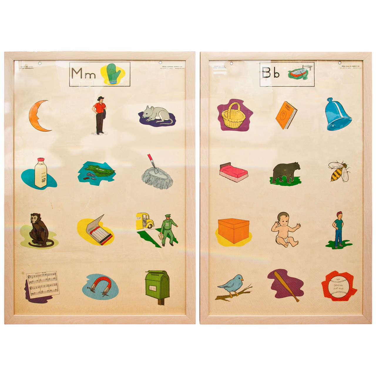 Custom Framed 1950's Elementary School Teaching Charts For Sale