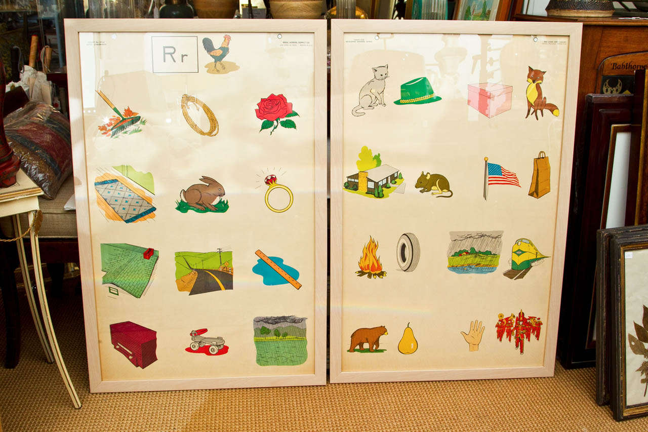 Custom Framed 1950's Elementary School Teaching Charts 2
