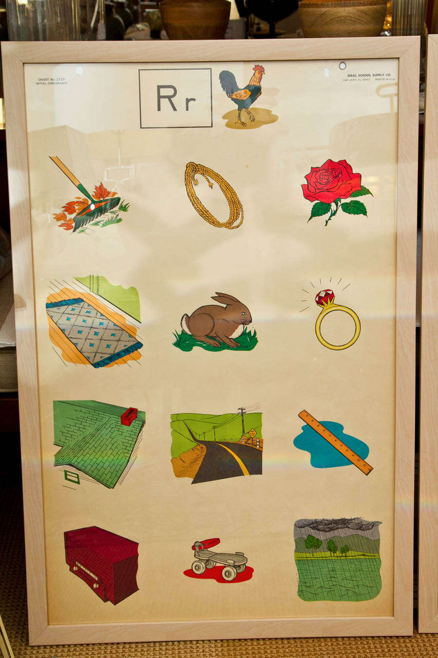 Custom Framed 1950's Elementary School Teaching Charts 3
