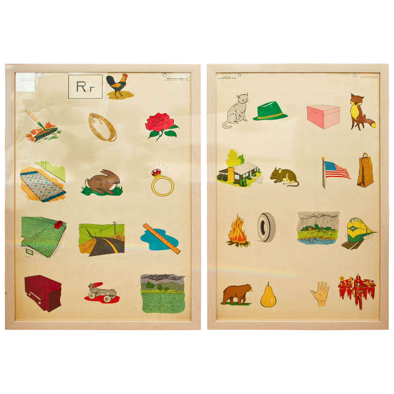 Custom Framed 1950's Elementary School Teaching Charts 1