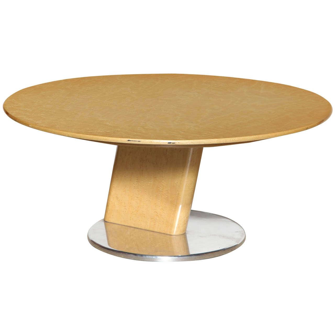 Saporiti Italia Birds Eye Maple and Cast Aluminum Low Table For