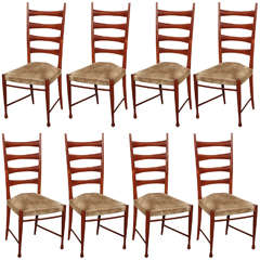 Paolo Buffa Eight Dining Chairs Made in Italy