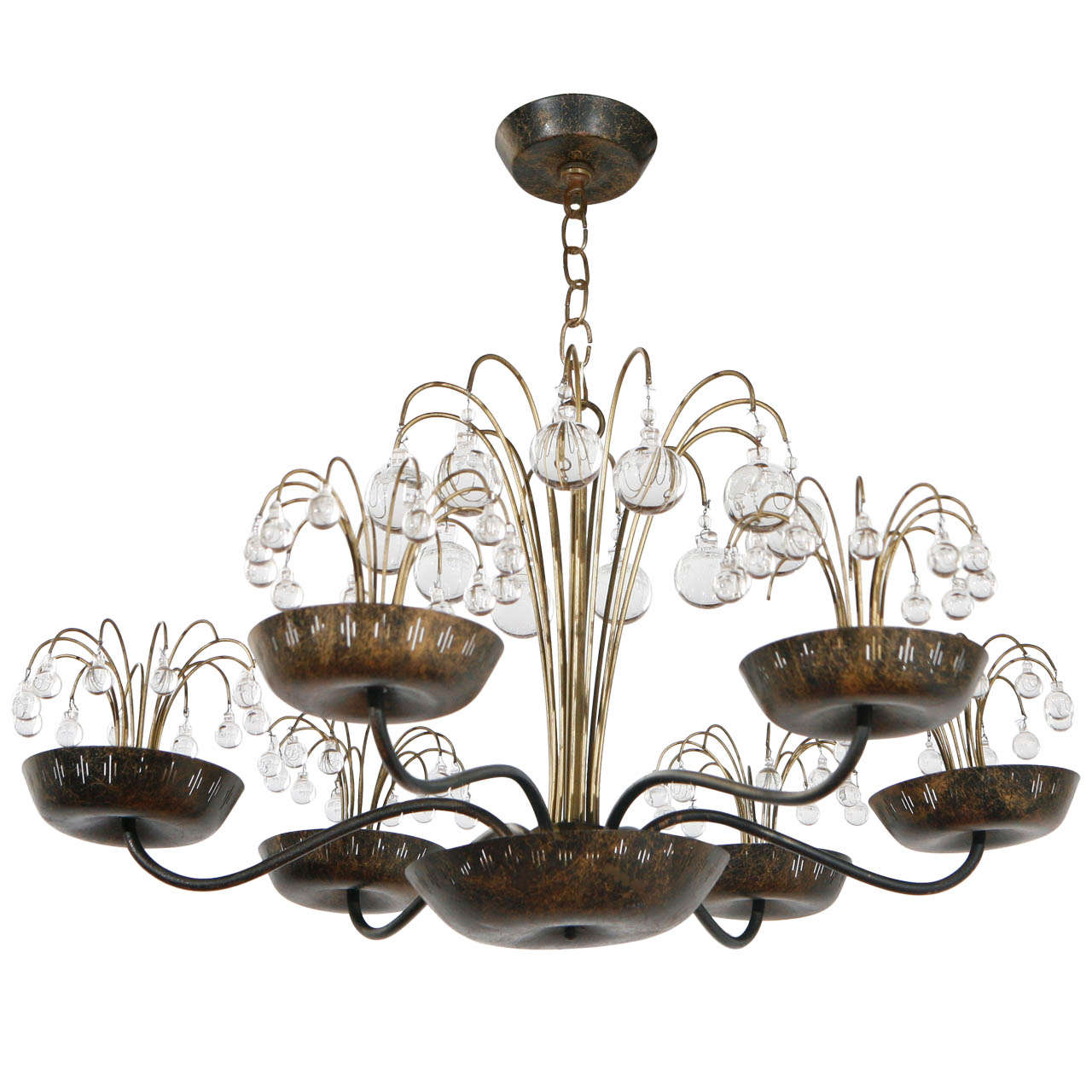 Glass and Brass Chandelier in the Style of Paavo Tynell