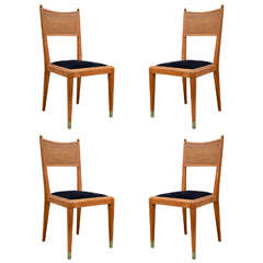 Set of Four Caned Back Chairs with Painted Sabots